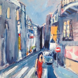 Daniel Clarke - summer evening paris, Original Painting Acrylic