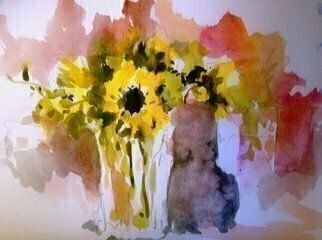 Daniel Clarke: 'sunflower', 2017 Watercolor, Landscape. Artist Description: Sunflowers on a Sunday Morning a watercolor with vivid colors shapes and atmosphere. Flowers, still life, paper magic...