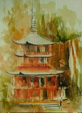 Daniel Clarke: 'temple of the blue waves', 2017 Watercolor, Landscape. Artist Description: Temple of the Blue Waves, is a Tendai Buddhist temple in Wakayama Prefecture, Japan. Founded by the priest RagyA ShAnin, a monk from India. The temple was purposely built near Nachi Falls, a nature worship site. ...