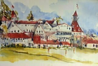 Daniel Clarke: 'the del', 2018 Watercolor, Landscape. Artist Description: Hotel del Coronado  also known as The Del and Hotel Del  is a historic beachfront hotel in the city of Coronado, just across the San Diego Bay from San Diego, California. It is one of the few surviving examples of an American architectural genre: the wooden Victorian beach ...