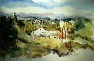 Daniel Clarke: 'view', 2018 Watercolor, Landscape. Artist Description: View from the Artist s living room.  A sunny day in Los Angeles...