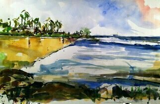 Daniel Clarke: 'wailea beach hawaii', 2019 Watercolor, Landscape. Artist Description: The beach gleams white in the sunaEURtms strong light, The oceanaEURtms a fathomless blue  The breakers roar on the reef and shore And call to me and you. The water is clear where the great fish sheer aEUR~Tween the coral rocKs below, And the surf boards ...