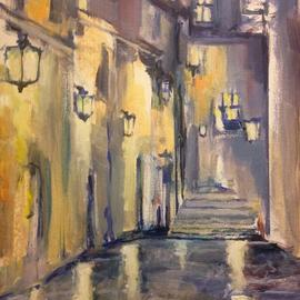 Daniel Clarke: 'wet evening avignon', 2017 Acrylic Painting, Landscape. Artist Description: On a wet evening in Avignon France the glow of street lamps and reflections are most haunting to the eye.  As ancient this street is it still seems like yesterday ...