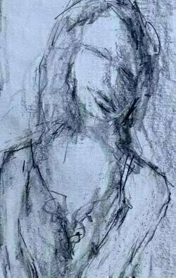 Daniel Clarke: 'young lady', 2017 Graphite Drawing, Portrait. A young lady awaiting her evening man carried away by the anticipation of the moment. Graphite on paper. ...