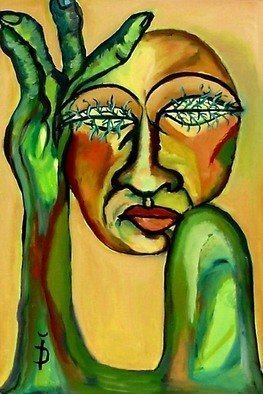 Daniela Isache: 'Green Eyes', 2009 Oil Painting, Expressionism.   Expressionist portrait of a woman                              An expressionist image of the tight relationship between man and woman.                                     ...