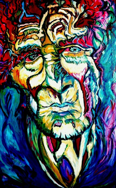 Artist Daniela Isache. 'Mysterious Old Man' Artwork Image, Created in 2009, Original Painting Oil. #art #artist