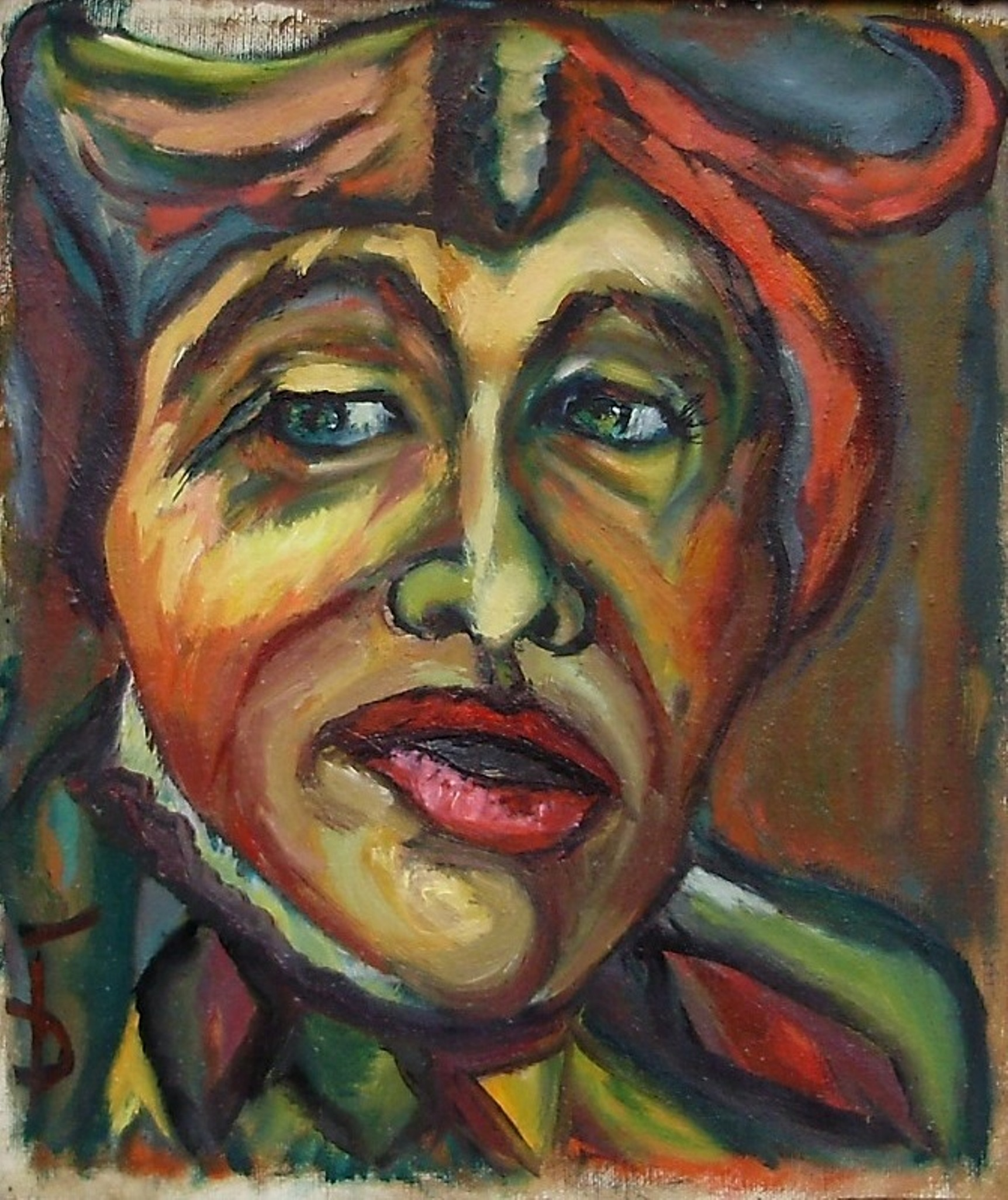 Daniela Isache: 'clown', 2017 Oil Painting, Expressionism. Artist Description: Expressive portrait of a clown. ...