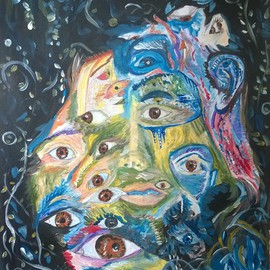 Daniela Maria: 'Eyes in struggles', 2016 Acrylic Painting, Abstract Figurative. Artist Description:  an interpretation of the many faces of personality and struggles ...