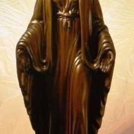 Daniel Patterson: 'Mother Mary', 2016 Wood Sculpture, Religious. Artist Description:  mother mary standing on a snake  hand carved from solid walnut finished with minwax stain and carnauba wax ...