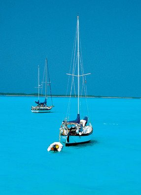 Daniel Rabinovich: 'Bahamas sailboats', 2004 Color Photograph, Seascape.   Ocean, sea, tropical, Bahamas, sailboat , reef, island   ...