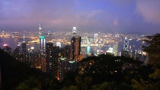 Daniel Rabinovich: 'Hong Kong at night', 2011 Color Photograph, Seascape.  Hong Kong, cityscape, night, lights, urban, skyscrapers,     ...