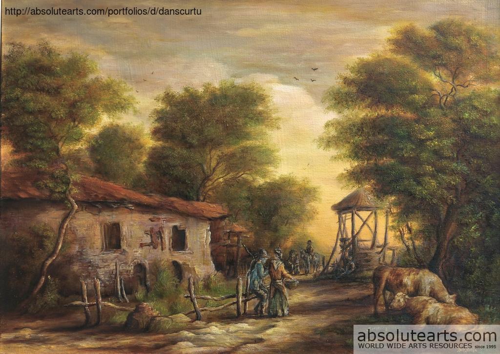 Dan scurtu artwork rural scene original painting oil for Oil painting scenery