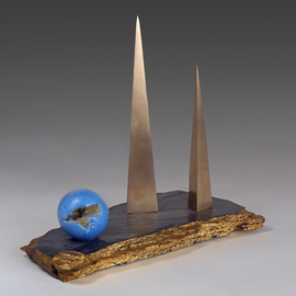 Dan Woodard: 'blue pearl', 2020 Mixed Media Sculpture, Abstract. Artist Description: In higher states of meditation a luminous Blue Pearl, located at the third eye, can be seen from within.  In this instance the Blue Pearl is nestled among two architectural bronze pyramids.  The full title is  Blue Pearl in the Land of Karma.   Bronze, acid- stained cement, slate. ...