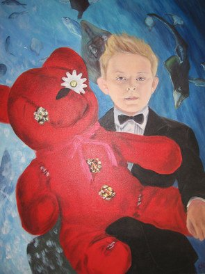 Darby Kelly: 'Little Boy Red Teddy', 2007 Acrylic Painting, Children.