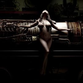 Dario Impini: 'jet city girl', 2012 Digital Photograph, Nudes. Artist Description: This image has a certain  Giger- esque  quality about it. I love the dark intrigue of heavy, powerful machinery. I also love that the model s form seems integrated with some of the lines and curves of the machine, almost like she s an integral part of the ...