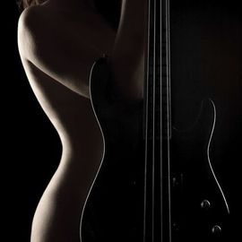 Dario Impini: 'resonance', 2010 Digital Photograph, Nudes. Artist Description: The bass guitar.  One of the few instruments that can tolerate professional play from the amateur to the virtuoso.  Aside from which it follows the sensuous curves of the feminine form.  So I present to you Resonance.  All my work delivered as high definition image infused into aluminum ...