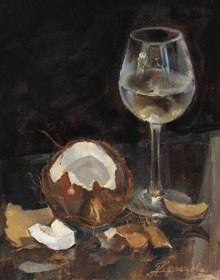 Dariusz Bernat: 'coconut', 2017 Oil Painting, Food. Artist Description: realism, black, white, wine, brown, coconut, glass, grey...