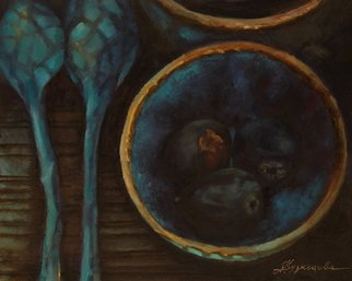 Dariusz Bernat: 'fig', 2017 Oil Painting, Food. Artist Description: realism, blue, turquoise, yellow, dark, fig, gold...