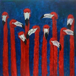 Dariusz Bernat: 'flamingos', 2017 Oil Painting, Abstract. Artist Description: red, blue, abstract expressionism, canvas, flamingos, oil...