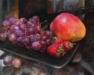 Dariusz Bernat: 'fruits on plate', 2017 Oil Painting, Food. Artist Description: plate, realism, red, black, strawberry, violet, yellow, mango, fruits, grapes, orange...