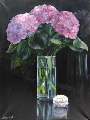 Dariusz Bernat: 'hortensia', 2017 Oil Painting, Expressionism. Artist Description: flowers, pink, green, black, vase, glass, nature, table...
