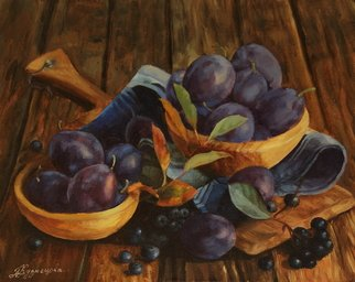 Dariusz Bernat: 'originalprints prunes berrys', 2017 Oil Painting, Food. Artist Description: prune, berry, realism, violet, canvas, colonial, gold, oil...