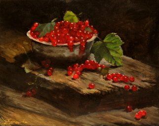 Dariusz Bernat: 'ribes', 2017 Oil Painting, Impressionism. Artist Description: Oil on Canvas.another painting from the series fruits, oil on canvasKeywords: red, black, green, impressionism, wood plate, ribes...