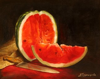 Dariusz Bernat: 'watermelon', 2017 Oil Painting, Food. Artist Description: realism, red, table, watermelon, contrast, green, light...