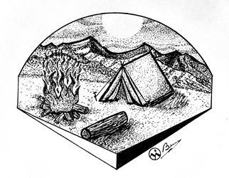 Bryn Reynolds: 'camp sweet camp', 2018 Ink Drawing, Mountains.  Now this is my kind of AirBNB One can envision return to this beautiful country location assure Et a long day if exploring, enjoying some conversation around the campfire,  and stress setting up at these Stars and Planets instead of a screenmountains nature rustic rusticart mountain hiking outdoors outside...