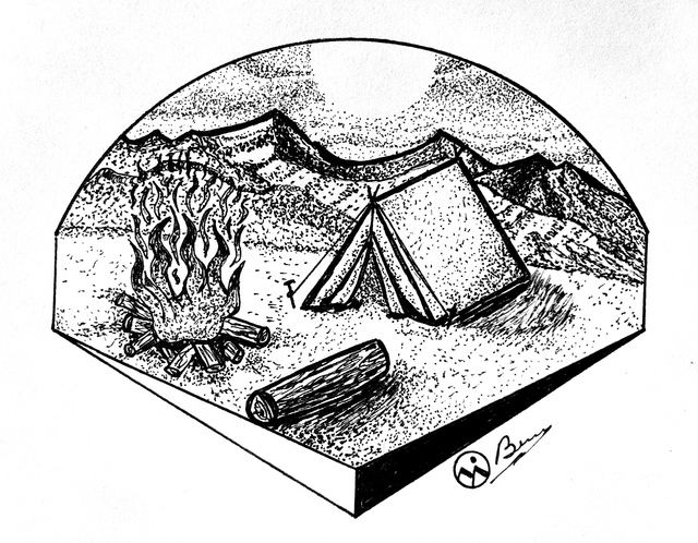 Bryn Reynolds  'Camp Sweet Camp', created in 2018, Original Drawing Ink.