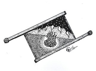 Bryn Reynolds: 'campfire dream', 2019 Ink Drawing, Nature. A campfire bring out the community in all of us   campfire  campvibes  hiking  nature  mountainart  mountaindecor  mountains...