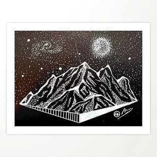 Bryn Reynolds: 'midnight ridge', 2019 Ink Drawing, Astronomy. Midnight Ridge captures both the feel of the limitless nightsky coupled with jagged peaks of of our Mountains. I feel this piece truly captures the spirit of my  DarkMountainArts   nightsky  mountains  stars  moon  planets  nova mountain  outside  wanderlust  penandink  camping  inspiration  hiking  adventure  wander...