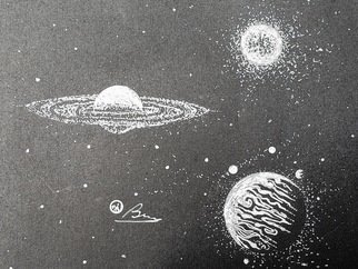 Bryn Reynolds: 'saturn vs jupiter', 2019 Ink Drawing, Astronomy. Arguably,  two of the most helpful Planets for our little third rock from the Sun.  Jupiter is like our big- brother, and take care of a lot of bullies that want to hit us This white- ink on Bristol black artist stock captures a brief moment in time when these ...