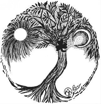 Bryn Reynolds: 'tree of gobraugh', 2018 Ink Drawing, Trees. The Tree of GoBraugh has been a popular piece in my  Trees Of. . . . .  series. This Hand- Drawn Original Pen   Ink Artwork would look amazing on your wall and is a sure conversation starter   treeoflife  trees  tree  penandink  pen ink nature  outside  outdoorgifts  rusticart  artoftheday  mountainart  rustic  decor  walldecor  artforyourwalls shamrock ...