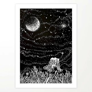 Bryn Reynolds: 'walking after midnight', 2019 Ink Drawing, Outer Space. This idea came to me while watching my young daughter gazing up at the night sky. . . ...