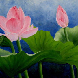Darla Brock Artwork Pink Lotus on Blue, 2006 Oil Painting, Floral