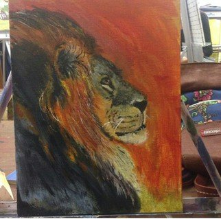 Darnell Foster Artwork Lion at Dusk, 2015 Acrylic Painting, Animals