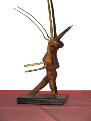 Gadadhar Das: 'DANCING DEER', 2005 Wood Sculpture, Animals. Artist Description:  This Art work was made from two pieces discarded tree roots. These pieces were collected from our garden. I made it in 2005. This Sculpture completely covered by a special type of wood coating for protect from termite  & borar. Weight of this Art Work is 0. 085 Kilos ...