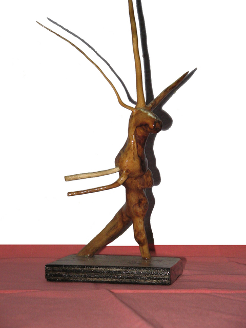 Gadadhar Das  'DANCING DEER', created in 2005, Original Sculpture Wood.