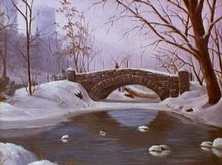 David Geer  'Stone Bridge Central Park', created in 1999, Original Painting Oil.