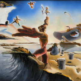 Dave Martsolf Artwork A Surreal Apocalyptic Education, 1979 Oil Painting, Surrealism