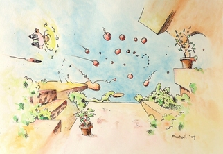 Artist: Dave Martsolf - Title: Blue Sky Terrace - Medium: Watercolor - Year: 2009