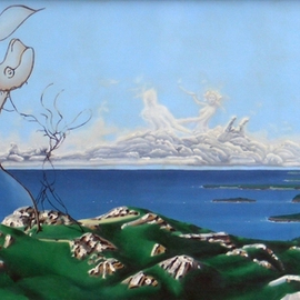 Dave Martsolf Artwork Feminine Landscape, 1979 Oil Painting, Surrealism