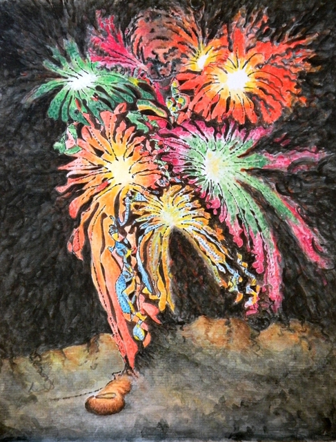 Artist Dave Martsolf. 'Fireworks Man' Artwork Image, Created in 2010, Original Drawing Pastel. #art #artist
