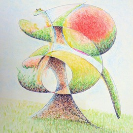 Dave Martsolf Artwork Fruit Tree, 2011 Pencil Drawing, Abstract Landscape
