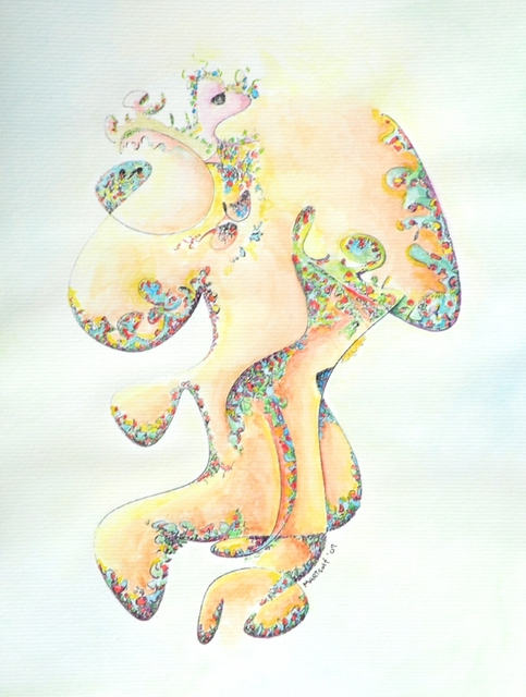 Dave Martsolf  'Gold Bejeweled Fertility Goddess', created in 2009, Original Drawing Pastel.