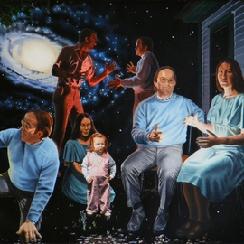 Dave Martsolf: 'Illumination Beyond Ursa Major', 1981 Oil Painting, Surrealism. Artist Description:  The conflicts, fears, and loves of men, and the hope of love bringing new life are portrayed in the vicinity of M81, a galaxy in the constellation Ursa Major.  An invisible light represents family love between the figures of man and woman.  martsolf, surreal, surrealism, surrealistic, galaxy, people, ...