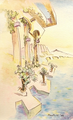 Artist: Dave Martsolf - Title: Mediterranean  Summer Morning - Medium: Watercolor - Year: 2007