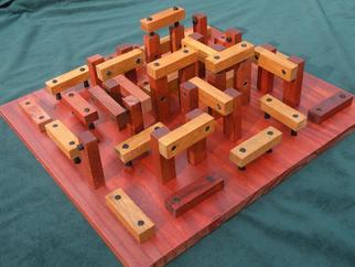 Wood Sculpture by Dave Martsolf titled: Woodhenge, created in 2013