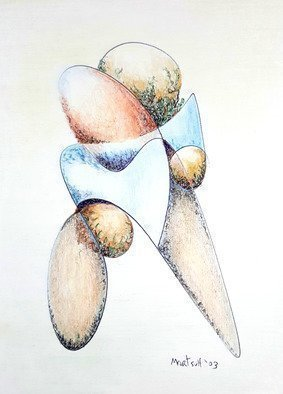 Dave Martsolf: 'bolder', 2003 Pencil Drawing, Abstract. Artist Description: This abstract looks like a Star Trek emblem, but also reminds me of the boulder creature in Galaxy Quest. Do you know why Mr. Boulders child was so aggressive     He was just a little bolder.    Sorry ...